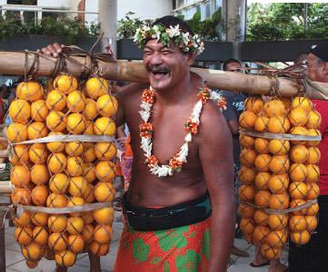 cueillette orange à tahiti